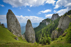 Rocky lanscape in Ceahlau mountains, Romania Stock Images