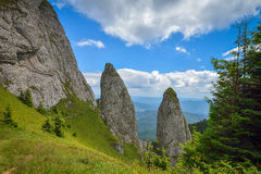 Rocky lanscape in Ceahlau mountains, Romania Royalty Free Stock Images