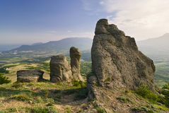 Rocky ledges in the background of the valley.  Ukraine Crimea. Stock Photo