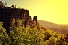 Rocky lookout in Bohemian Switzerland, Czech Republic. Royalty Free Stock Image