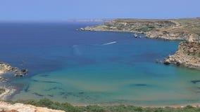 Rocky Malta coast with azure bays stock video