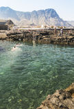 Rocky man made pools at Puerto de las Nieves on Gran Canaria. Stock Images