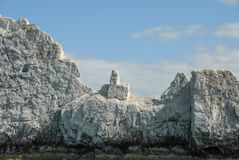 Rocky middle finger created by limestone cliffs stock image
