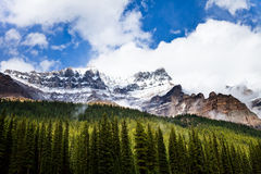 Rocky mountain. And forest. Banff National Park. Alberta. Canada, Oct. 2011, close to Moraine Lake royalty free stock image