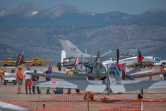 Rocky Mountain Airshow. Line of aircraft at Rocky Mountain airshow at the airport just outside of Denver. 2015 Stock Photos