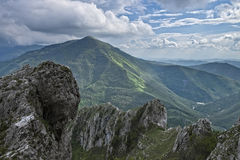 Rocky mountain in Apennines, Corno of mount Catria, Marche, Italy Stock Photo