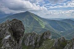 Rocky mountain in Apennines, Corno of mount Catria, Marche, Italy. Rocky mountain in Apennines, blue sky with clouds, Corno of mount Catria, Marche, Italy Stock Photo