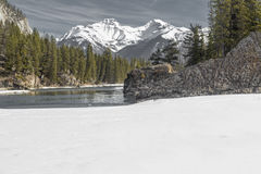 Rocky Mountain, Banff, Alberta, Canada. Scenic view of Bow River and mountains in Banff Royalty Free Stock Images