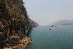Rocky mountain in dam stock photo