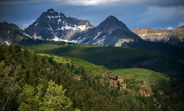 Rocky Mountain Dappled by Sunlight in Telluride, Colorado Stock Image