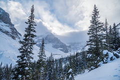 Rocky Mountain dichtbij Meer Louise Stock Foto