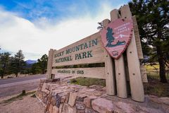 Rocky Mountain Entrance. Rocky Mountain National Park Entrance Wooden Sign. Estes Park Entrance. Colorado, United States royalty free stock image