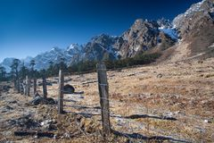 Rocky Mountain Fence line Stock Image