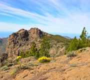 Rocky mount, summit of  Gran canaria island. Natural landscape of Gran canaria Royalty Free Stock Photo