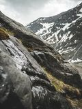 Rocky Mountain With Green Grasses at Daytime royalty free stock image