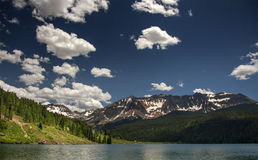 Rocky Mountain Heaven, Trout Lake, Ames, Colorado. Mountains and Forest meet at Trout Lake in the San Juan mountains of south-western Colorado Stock Photo