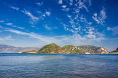 Rocky mountain Islands in the Bay of Marmaris. Seascape with blu. E sky stock images
