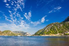 Rocky mountain Islands in the Bay of Marmaris. Seascape with blu. E sky royalty free stock image