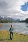 Rocky Mountain Lake. Beautiful Rocky Mountain lake in Alberta, Canada in autumn fall season and storm clouds royalty free stock photo