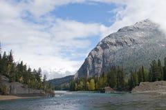 Rocky Mountain Lake. Beautiful Rocky Mountain lake in Alberta, Canada in autumn fall season and storm clouds stock photos