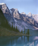 Rocky Mountain Lake Banff Alberta Canada. Moraine Lake in late afternoon, Banff National Park. 6x7 Kodachrome drum scan Stock Photography