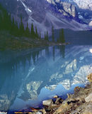 Rocky Mountain Lake Reflection Banff Alberta Canad. Moraine Lake in late afternoon. 6x7 Kodachrome drum scan stock photos