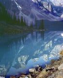Rocky Mountain Lake Reflection Banff Alberta Canad stock photos