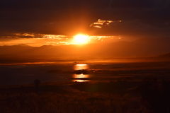 Rocky Mountain Lake Sunset. This image was taken at dusk in Eleven Mile State Park, CO royalty free stock photos