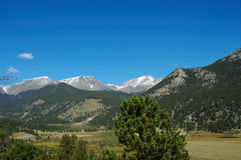 Rocky Mountain landscape. Rocky Mountain National Park is located in the north-central region of the U.S. state of Colorado. It features majestic mountain views royalty free stock image