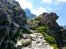 Rocky mountain landscape with blue sky in Vysoke Tatry.  royalty free stock image