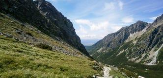 Rocky mountain landscape with blue sky in Vysoke Tatry.  stock photo