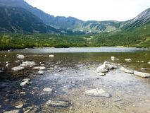 Rocky mountain landscape with blue sky in Vysoke Tatry.  royalty free stock images