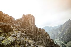 Rocky mountain landscape in High Tatry. Beautiful rocky mountain landscape in High Tatry royalty free stock images