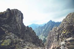 Rocky mountain landscape in High Tatry. The rocky mountain landscape in High Tatry stock photo