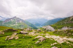 Rocky Mountain Landscape with Lake in the Background stock photo