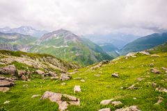Rocky Mountain Landscape with Lake in the Background royalty free stock photos