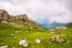 Rocky Mountain Landscape with Lake in the Background stock photography