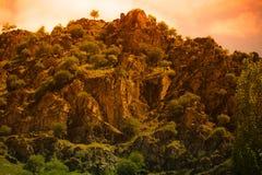 Rocky mountain. Landscape  toned in orange. Tajikistan Stock Photo