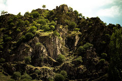Rocky mountain. Landscape. Toned. Tajikistan Stock Images