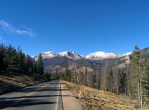 Rocky Mountain National Park Background Backdrop Lone Road Snowcap Tops royalty free stock photography