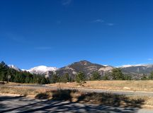 Rocky Mountain National Park Background Backdrop Picture Clear Blue Sky stock photos