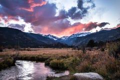 Rocky Mountain National Park bei Sonnenuntergang Stockbild
