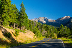 Rocky Mountain National Park. In Colorado calls to travelers on a summer day stock photography
