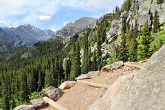Rocky Mountain National Park. In Colorado, USA. Hiking trail path royalty free stock photography