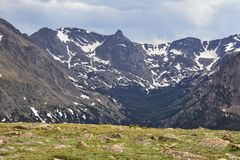 Rocky Mountain National Park, Colorado. View of alpine tundra and mountain peaks from Trail Ridge Road in Rocky Mountain National Park, Colorado Royalty Free Stock Photography