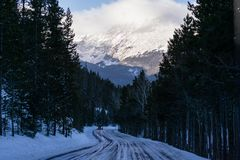 Trail Ridge Road in Winter. Rocky Mountain National Park, Estes Park, Colorado Royalty Free Stock Photo