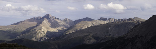Rocky Mountain National Park Panorama. With Longs Peak viewed from Trail Ridge Highway royalty free stock images
