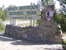 Rocky Mountain National Park Sign Stock Afbeelding