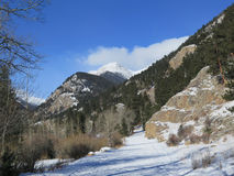 Rocky Mountain National Park Winter road. Old Fall river road closed for the winter season in Rocky Mountain National Park royalty free stock image