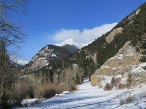 Rocky Mountain National Park Winter-Straße lizenzfreies stockbild